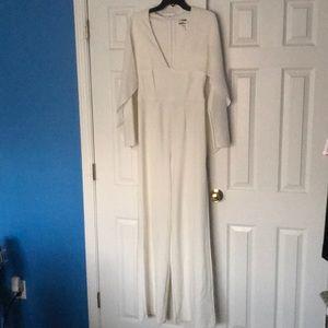 Pants - White jumpsuit with chiffon cape